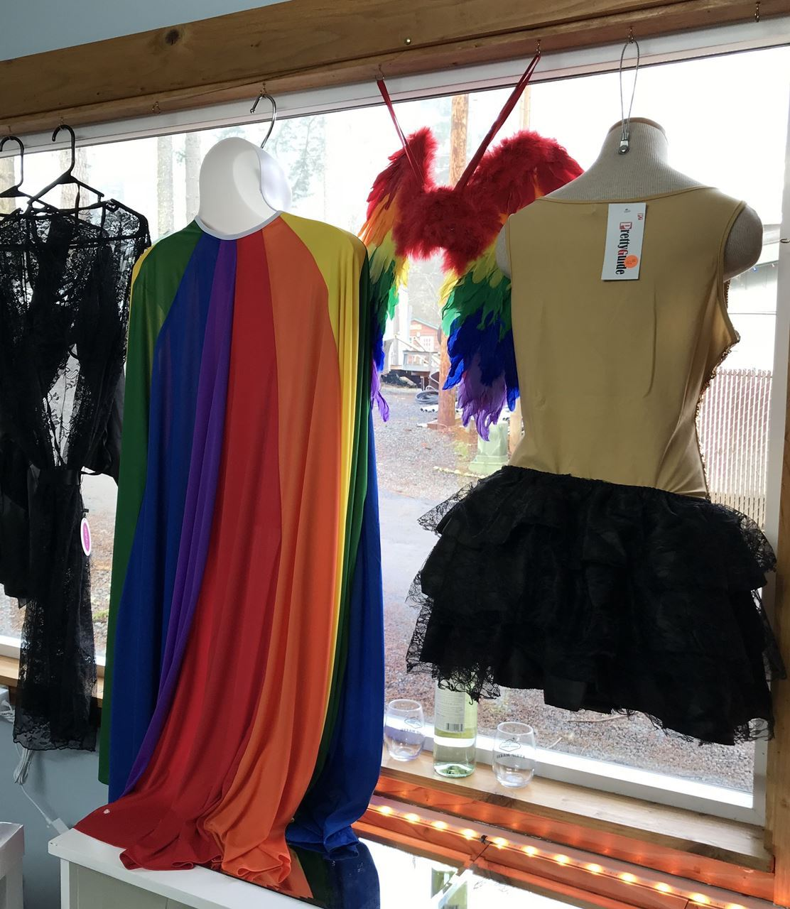 gift shop, rainbow dress